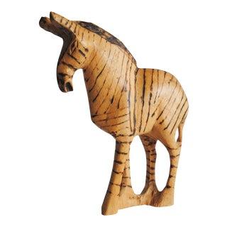 Vintage Wood Zebra Figurine
