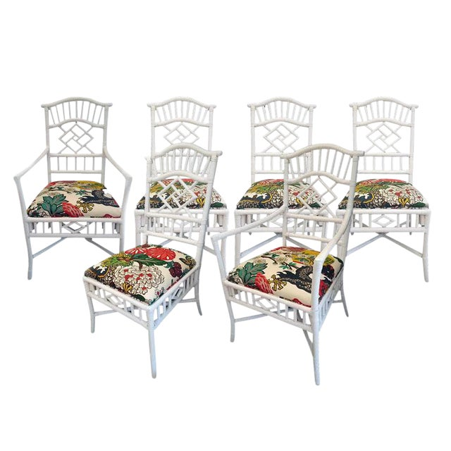 Image of Vintage Chippendale White Lacquered Chairs - Set of 6