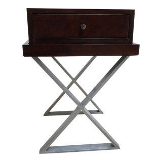 Council Furniture Burl Mahogany Campaign X Base Lamp End Table