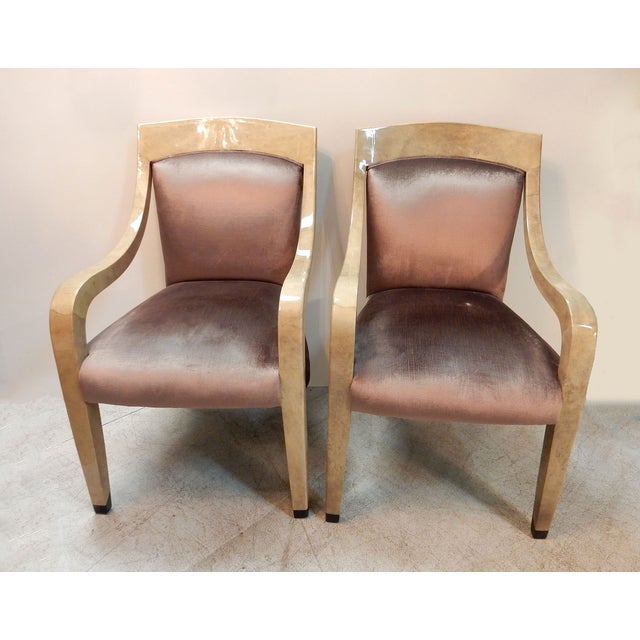 Image of Donghia Goatskin Arm Chairs - Pair