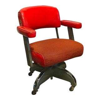 1950s Orange Mid-Century Modern Office Chair