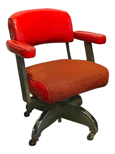 1950s Orange Mid Century Modern Office Chair