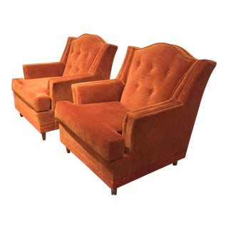 Mid Century Velvet Wingback Club Chairs - a Pair