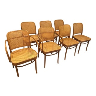 Thonet Style Bentwood Cane Chairs - Set of 7