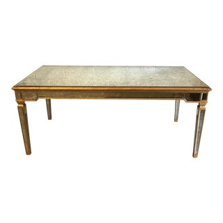 Antiqued Mirrored Dining Table With Gold Leaf Trim