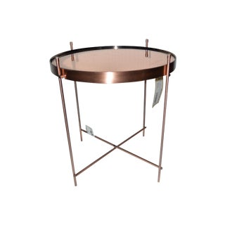 Copper Side Table With Mirrored Top