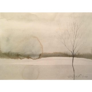 Contemporary Frozen Pond Watercolor Painting