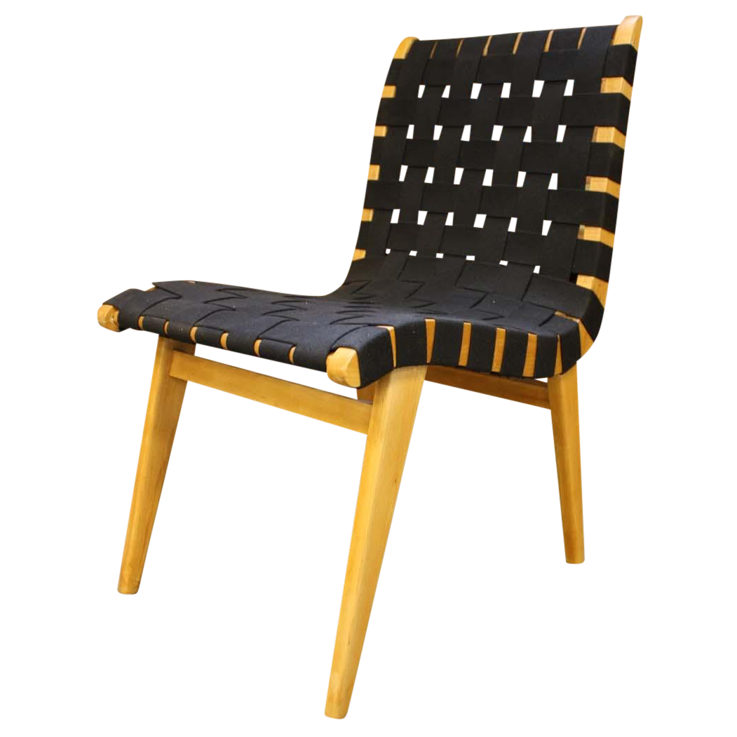 german risom style black webbed accent chair
