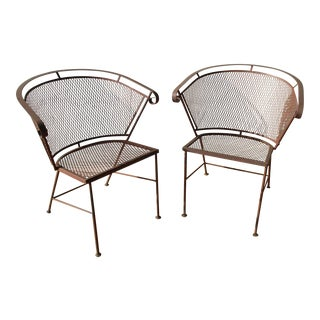 1950s Vintage Mid Century Wire Mesh Patio Chairs - a Pair Chair Set