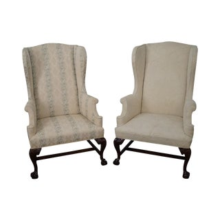 Chippendale Style Carved Mahogany Wing Chairs- A Pair