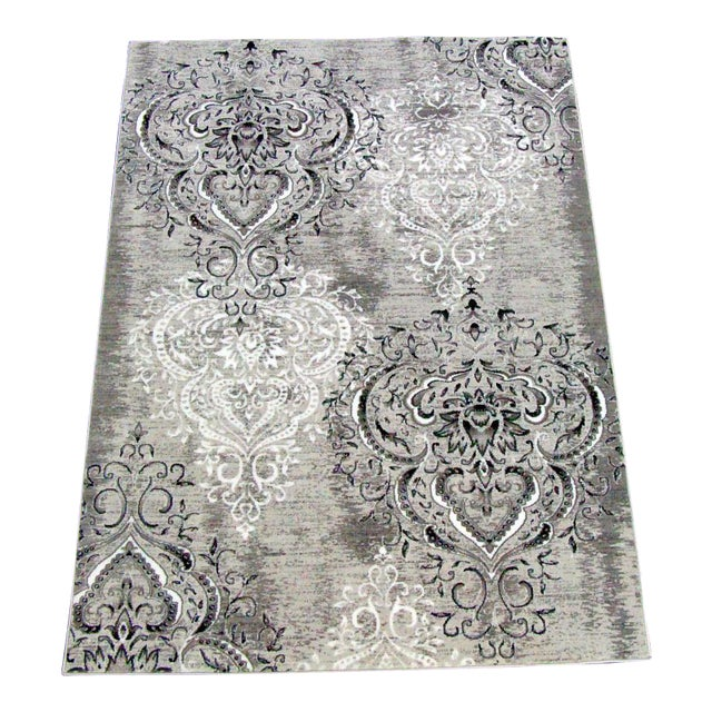 "Damask Gray & White Rug- 6'7"" x 9'7"" - Image 1 of 7"