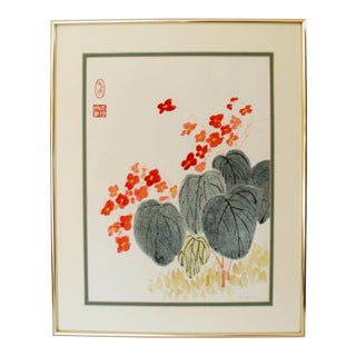 Framed Japanese Flowers Watercolor Painting