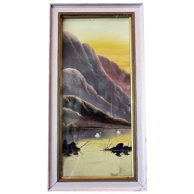 Asian Pastel Lake Scene - Image 1 of 4