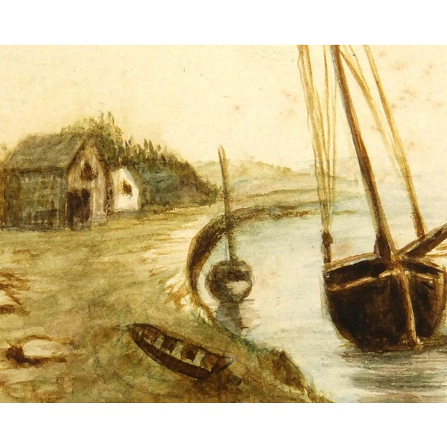 Antique Watercolor Painting Shoreside, Circa 1900 - Image 2 of 3
