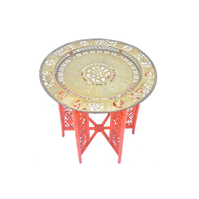 Chinese Brass Tray on Orange Stand - Image 5 of 8