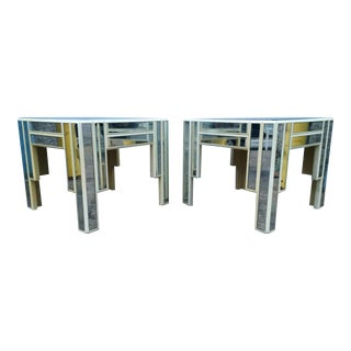 Distressed & Tarnished Mirrored Tables - A Pair