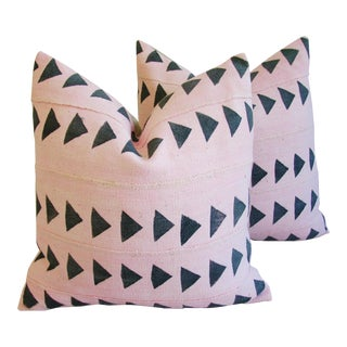 Pink Overdyed Mali Tribal Mud Cloth Pillows - A Pair