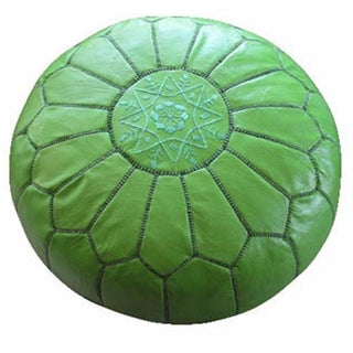 Green Moroccan Leather Pouf