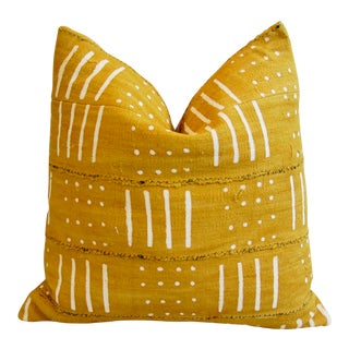 African Mali Mud Cloth Tribal Yellow/Gold & Cream Pillow