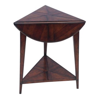 Wood Triangle Circle Table With Shelf