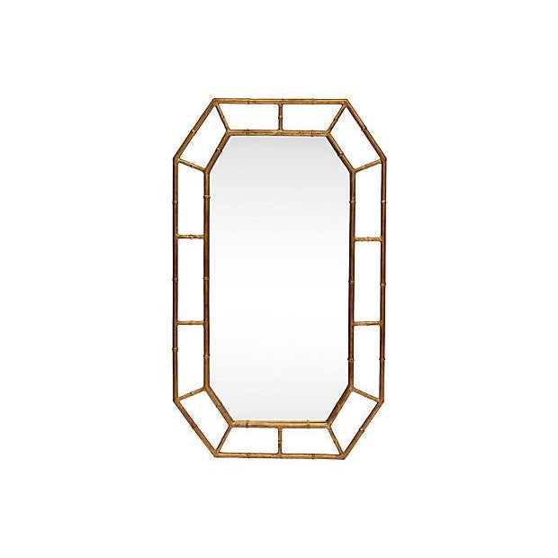 Image of Eight-Sided Gold Bamboo-Style Mirror