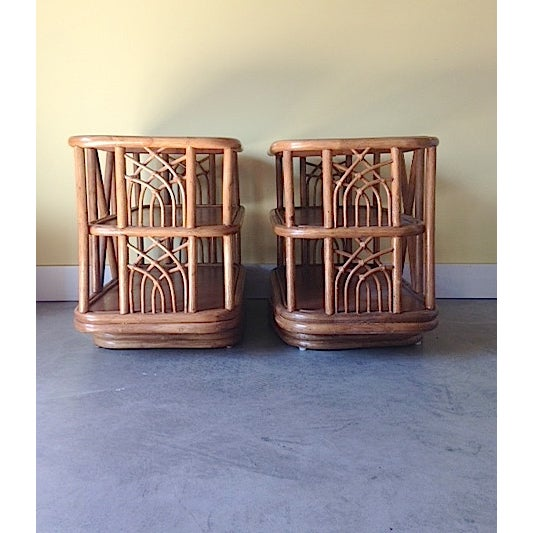 Image of Mid Century Bamboo Swiveling End Table - Pair