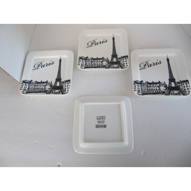 Eiffel tower canape plates set of 4 chairish for Canape plate sets