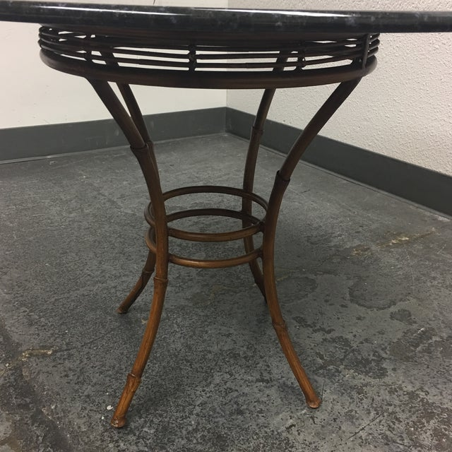 Granite & Rattan Dining Table & Chairs - Image 6 of 9