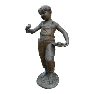 Unique Bronze Statue of a Boy Holding a Bird