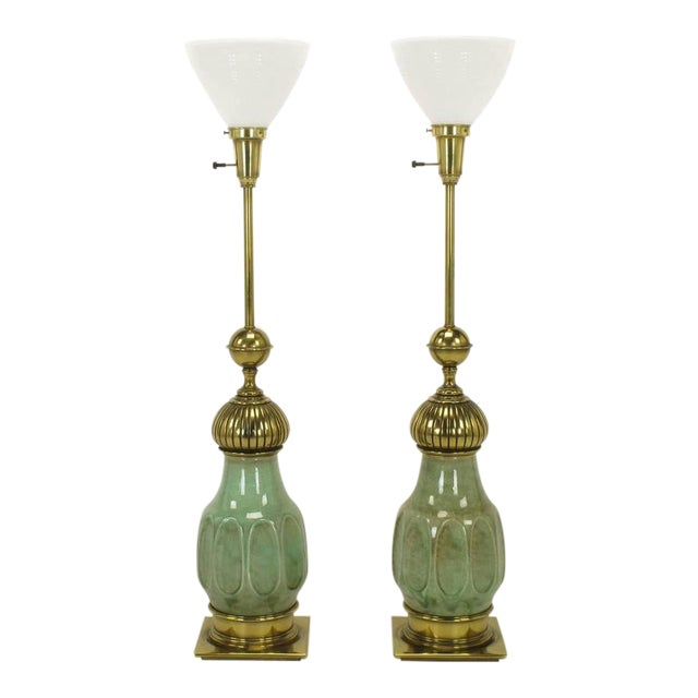 Pair of Stiffel Sea Foam Green Crackle Glaze and Brass Moorish Style Table Lamps - Image 1 of 7