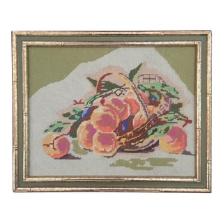 Vintage Needlepoint Fruit Art Framed in Bamboo Frame