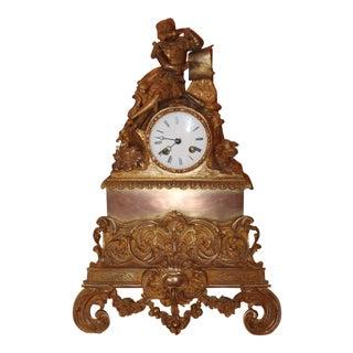 C1810 Empire Period French Gilt Gold Bronze Opulent Clock Scholar