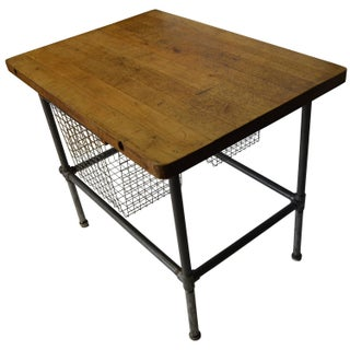 Maple-Top Kitchen Island with Sliding Baskets