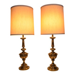 Brass Stiffel Table Lamps and Shades - A Pair