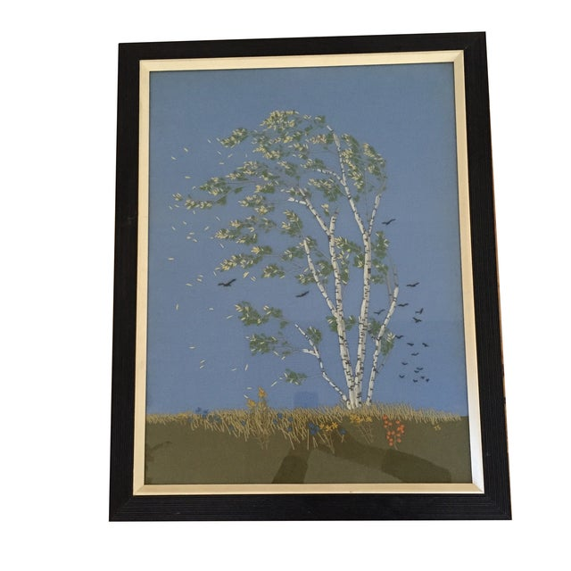 Image of Framed Birch Tree Needlepoint