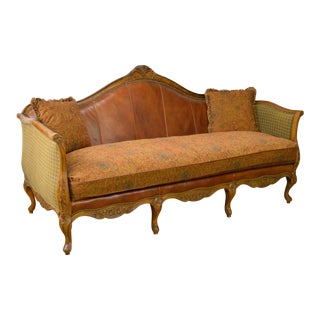 Quality French Louis XV Style Leather & Upholstered Carved Sofa