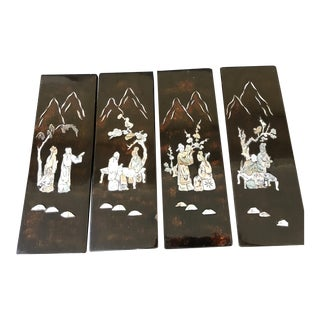 Mid-Century Mother of Pearl Wood Panels - Set of 4