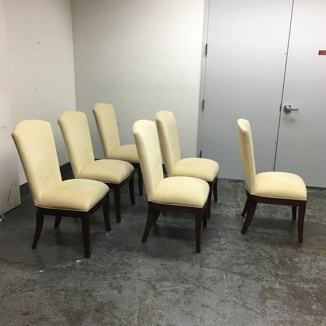 Jessica Charles Cream Sensuede Upholstered Dining Chairs- Set of 6 - Image 4 of 7
