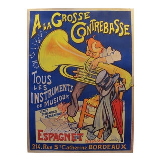 1920s Vintage French Music Poster, A la Grosse Contrebasse