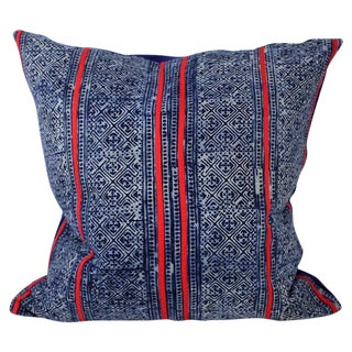 Hmong Red Stitch Batik Handmade Pillow Cover