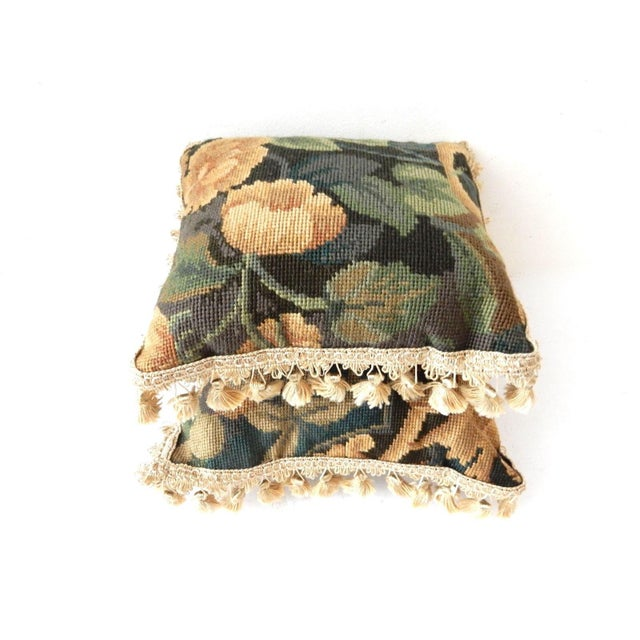 French Square Verdure Petit Point Pillows - a Pair - Image 5 of 8