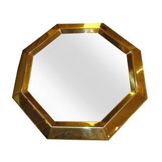Vintage Modern Brass Octagon Mirror