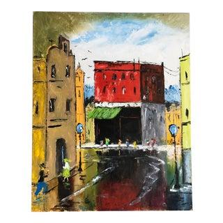 Vintage Original Street Scene Painting
