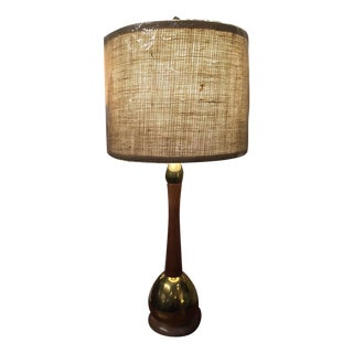 Mid-Century Wood & Brass Table Lamp with Shade