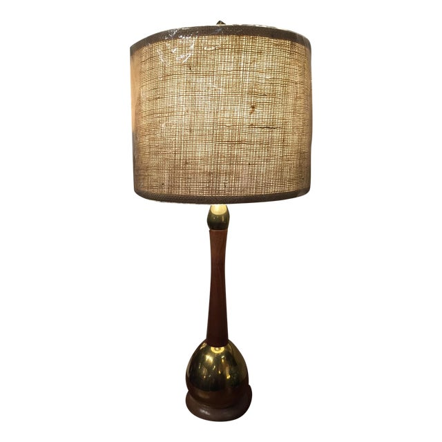 mid century wood brass table lamp with shade chairish. Black Bedroom Furniture Sets. Home Design Ideas