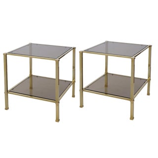 Good Quality Pair of French 1970s Solid Brass & Smoked Glass Square Side Tables
