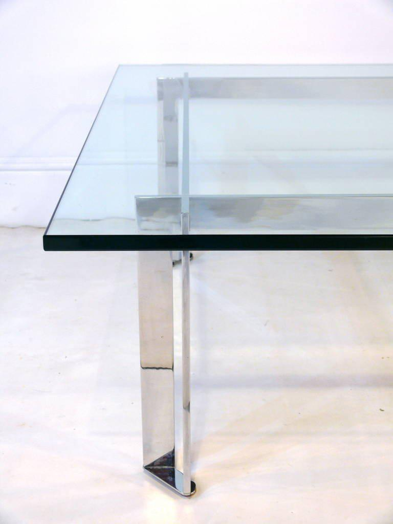 Chrome And Glass Coffee Table In The Manner Of Romeo Rega   Image 6 Of 10