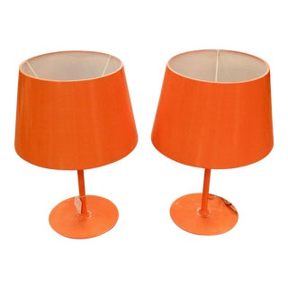 Vintage Orange Lamps - A Pair