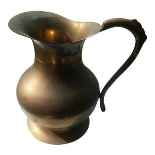 Mid-Century Solid Brass Pitcher
