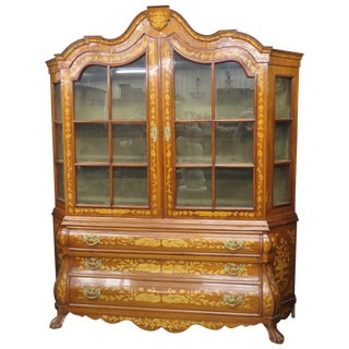 Dutch Style Bombe Inlaid China Cabinet
